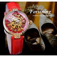 Forsining Moda Ouro Skeleton Diamante Projeto vermelho de couro genuíno faixa luminosa Senhora Relógios Mecânicos Top Marca de luxo