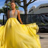 Cristallo Halter sexy lungo giallo Prom Dresses Illusion Top Chiffon Abito da sera Backless Plus Size Occasion Dress Boutique