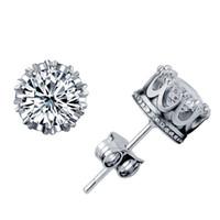 Caja libre Royal Crown Earrings Stud para mujer Plata esterlina Circón Joyería para mujer Sólido 925 de plata