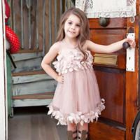 Pageant Toddler Kids Girls Pricness Dama de honor Tul pétalo Vestidos de fiesta Formales Sin mangas Tutu Vestido de flores Ropa de bebé