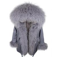 2019 MAOMAOKONG Marca de pele de coelho cinza forro cinza parkas longos azuis com cinza guarnição de pele de ovelha Mongólia