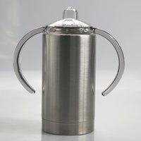 12oz reto copo de aço inoxidável garrafas de água de aço inoxidável com alça chupeta pilas de vácuo isolado bebê leite canecas crianças bebendo copo a12