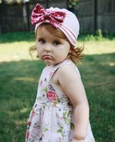 Girls Baby Cotton Turban with Bowknot Children Sequins Headb...
