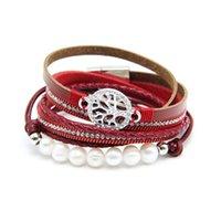 Perle Bracelet en cuir Boho Arbre de Vie Multilayer Bracelet gainé de cuir Bijoux Bracelet Bohème Hommes, Femmes