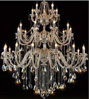 Lustre moderne Grand Cognac Lustre en cristal pour Living Room D130cm H140cm 30Arms Big Hôtel Splendid Penthouse LED haute Hanging lumières
