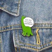 Шикарный динозавр брошь булавка зеленый динозавр значок динозавр ювелирные изделия превосходно все мои друзья мертвы металл эмаль броши милые булавки