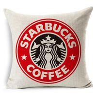 Starbucks Baskılı Yastık Kılıfları Yastık Kapak Yastık Ev Kanepe Atmak Yastık Kılıfı Tekstil Beddng Setleri Noel Hediyesi