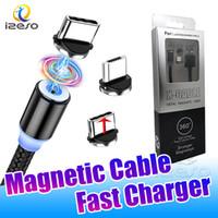 유형 C USB 빠른 충전 와이어 2A 마그네틱 케이블 라인 마이크로 USB 빠른 충전기 삼성 주 3 20 울트라와 소매 포장 izeso