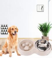 2021 Vendita calda Cat Dog Bowl New Style Dual-Uso Frumento Frumento Slow Food Anti-Choke Acqua Bowls Stand Alimentatore con acciaio inox Anti -slip Piedi Doppia Super Design