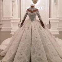 Vintage Ballkleid Brautkleider 2020 High Hals Luxus Zug Lange Ärmel Sparkle Applique Satin Brautkleider