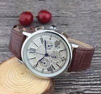 新しいすべてのダイヤルワーキングストップウォッチメンズウォッチカレンダーレザーストラップトップブランドのクォーツ腕時計の高級時計