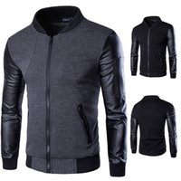 Mens Designer novo stand Casual Jacket Collar Leather Jacket mangas Painéis Slim Fit Homme casaco fashion