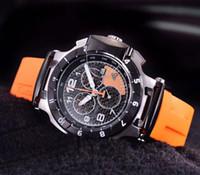 도매 T048 라운드 T-인종 오렌지 한정판 스타 1853 크로노 그래프 석영 일본 고무 스트랩 남성 시계 손목 시계 남성 시계