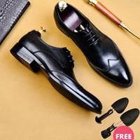 QYFCIOUFU 2019 Qualitäts-handgemachte Oxford-Kleid-Schuhe Männer echten Kuh-Leder-Anzug Schuhe Schuhe Hochzeit formale italienische Schuhe