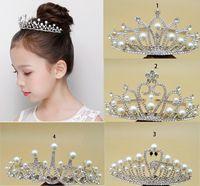 12 adet Glitter Rhinestone ve İnci Tiara Kafa Simüle Takı Saç Taç Aksesuarları Gençler için Prenses için Kafa Dia 11.5 cm