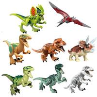 Minifig Figuras Jurassic Park Bloques de dinosaurios 8PCS Mucho Velociraptor Tyrannosaurus Rex Building Niños Juguetes Regalo de ladrillos
