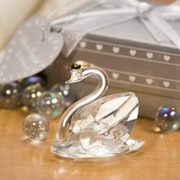 50PCS Wahl Kristallschwan in Silber-Geschenk-Kasten-Hochzeit bevorzugt Minikristall Swans Briefbeschwerer Brautparty-Party-Giveaways FREE SHPPING