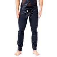 Sexy Homosexuell Männer Schwarz Slim Fit gerade Hose PU-Leder-Gamaschen-Hosen Wet Look Neuheit Long Johns Enge Diskothek Male Leder Rock-Hosen