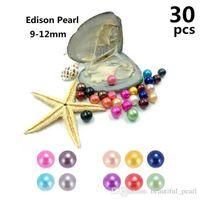 30pcs / lot Edison İnci Oyster 9-12mm 16 Mix renk Tatlısu Hediye DIY Doğal İnci Gevşek Toptan Packaging süslemeler Vakum boncuk