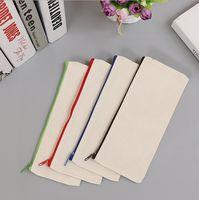 새로운 21x9cm 화이트 캔버스 빈 일반 지퍼 연필 펜 봉투 편지지 케이스 클러치 주최자 주머니 선물 수납 주머니