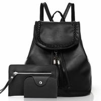 حقائب مدرسية 3PCS مجموعة السيدات PU على ظهره حقيبة أزياء Hangable الحقيبة الكتف التخزين بطاقة حامل حقيبة المحفظة المنظم السفر