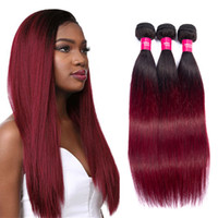 1b burgundy Straight Virgin hair Weaving Ombre human hair 3 ...