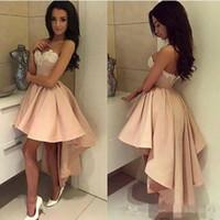 Hoge Lage Korte Prom Jurken Pearl Pink White Lace Cocktail Sweetheart Sexy Back Formal Party Draag vintage jurken