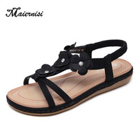 MAIERNISI Summer Casual Sandals Women Flats Shoes Casual Ope...