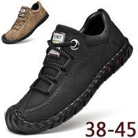 Scarpe di cuoio cucito a mano luce moda Mens Outdoor Casual Shoes tacco basso degli uomini respirabili escursionismo Sneaker