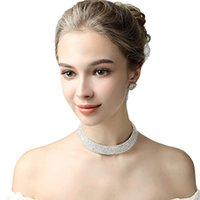 Rhinestones Colar Brincos Conjuntos de Jóias de Noiva para Vestidos de Festa de Casamento das mulheres