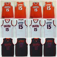 College 15 Camerlo Anthony Syracuse Orange Jerseys Naranja Negro Color blanco Equipo Anthony University Jerseys Baloncesto Uniforme de baloncesto Alta calidad