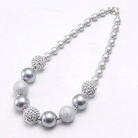 Più nuovi monili della collana di Chunky Bubblegum borda la collana Il bambino scherza il colore d'argento con strass rotonda per le ragazze del regalo del partito
