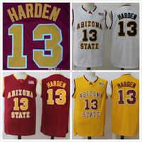 NCAA 13 James Harden Asu Jerseys Arizona State College Sun Devils Jersey 남성 농구 팀 캔버스 팬들에게 화이트 레드 드롭 배송
