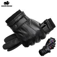 Guantes de cuero genuinos Touch guantes de la pantalla bisontes DRIL para hombres invierno cálido mitones completa handschuhe dedo, además de terciopelo S019 Y200110