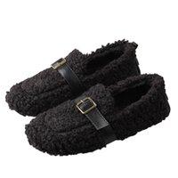 Fivela de cinto redonda dedo do pé inverno sapatos de algodão de pelúcia mulher mulher antiderrapante casual apartamentos confortáveis deslizamento em mocassins de pele encaracolado todos os mocassins de correspondência
