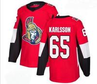 Erkekler Ottawa Senatörleri # 65 Karlsson Kırmızı Ev Moda Altın Dikişli Jersey, 2019 Online Mağaza Satılık Spor Hokeyi Formaları Gömlek