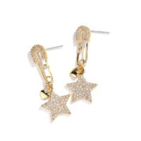 Creative Ladies Gold Star Earrings With Zircon Female Person...