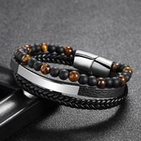 New pedra 6 milímetros olho de tigre pulseira artesanal frisado pulseira de couro pedra natural bracelete de venda direta da fábrica