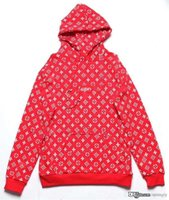 2017 Hot MONOGRAM box logo sudadera con capucha RED WHITE NEW LARGE SUP Supree X L V BOGO Hoodie Hoodie Red Box Logo