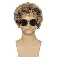 Heiße Art und Weise der Männer Brown schwarze kurze synthetische wellige Haarperücken lockiges Haar Kopf hoch temprature Material Haarperücken PERÜCKE-M08