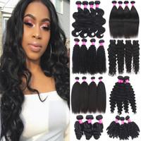 9a бразильские наращивания человеческих волос 100% необработанные пачки волос девственницы утворцы перуанской малазийской индийской глубокой волны свободная волна волос