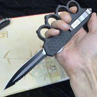 최고 판매! 전투 TROO-DON 마이크로 기술 블랙 너클 칼 집진기 자동 나이프 전술 나이프 (440) 블레이드 스틸 생존 EDC 도구