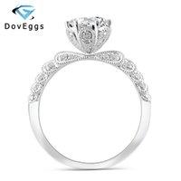 DovEggs 14K Centro oro blanco 1 cuenta Carat 6.5mm Moissanite diamante anillos de compromiso color F para el anillo de boda de las mujeres con acentos T200701