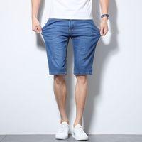 Anbican 2019 Été Denim léger Shorts Hommes genou longueur Hommes Shorts Jeans Casual de