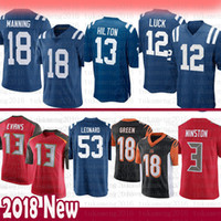 Indianapolis 12 Colts Andrew Luck 13 T.Y. Hilton 18 Peyton Manning Jersey 53 Darius Leonard Buccaneer 3 Winston 13 Evans Bengals A.J. Verde