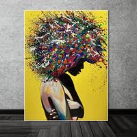 Soyut Kız Wall Art Kanvas Tablolar Grafiti Sanatı Posterler ve Baskılar Sokak Sanatı Kara Kız Duvar Resimleri Ev Dekorasyonu