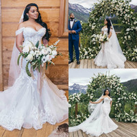 Plus Size Wedding Dresses Off The Shoulder Lace Floral Appli...