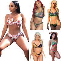 Moda Kadın Mayo Yaz Bikini Suit Kolsuz Spor Push Up Sutyen Yelek + Şort İki Parçalı Kıyafetler Çiçek Köpekbalığı Baskı Mayo Eşofman Beachwear 5 Renkler