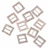 20 unids / set Square Rhinestone Ribbon Buckles Slider Charm Beads para la decoración de bricolaje horquillas y botones de ropa 20 mm