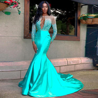 Turchese Crystal Mermaid Prom Dresses Sexy Hollow Back Sweep Sweep Treno Perline Lungo formale Wome Abiti da festa sera abiti Africaines